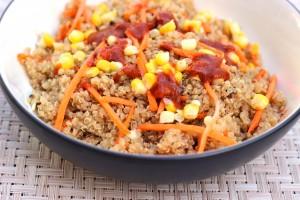 More Quinoa Fun – Quinoa with Corn, Carrots, and Mole Sauce