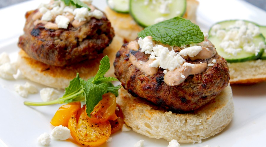Lamb Burgers with Pomegranate  Tzatziki Sauce