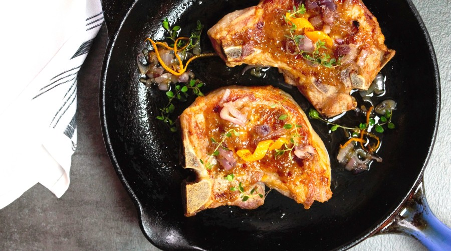 Pork Chops with Fig/Orange Glaze